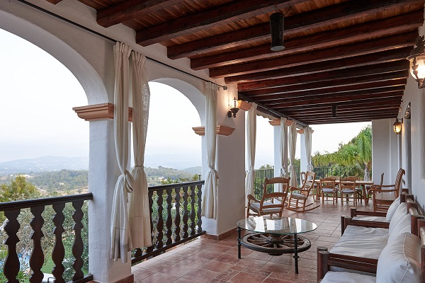 Porch at the villa with views